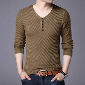 Sweater Men Pull Slim-Fit V-Neck Knitted Long-Sleeve Cashmere-Wool Autumn Casual Shirt