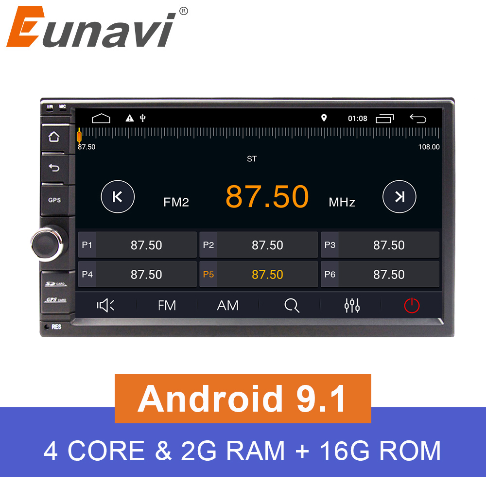 Eunavi Universal 2 din Quad core 7 Android 9 1 Car Radio Stereo multimedia Player GPS