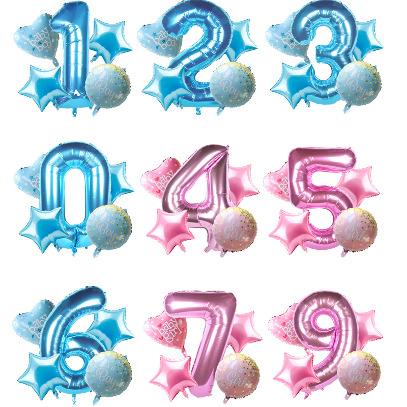 5pcs/kit Pink blue <font><b>Girl</b></font> boy Digit foil balloon Baby shower Girlish 0 <font><b>1</b></font> 2 3 4 5 6 7 8 9 number ballon Kids <font><b>birthday</b></font> party <font><b>decor</b></font> image