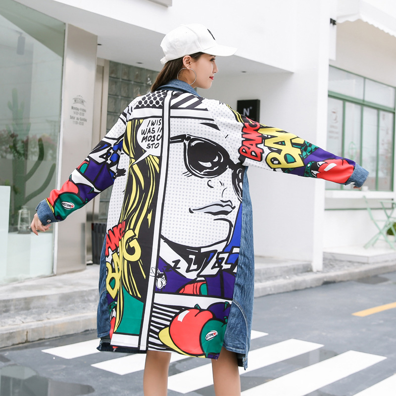 Windbreaker Women Coat Spring-Printed Cowboy-Patchwork Fashion Trench Long Big-Size Cartoon title=