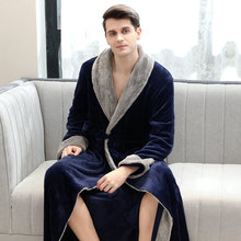 Men Winter Thick Flannel Nightgowns Male Warm Coral Velvet Long Bathroomrobe Thermal Soft Comfort Night Sleep Robe Lounge Wear