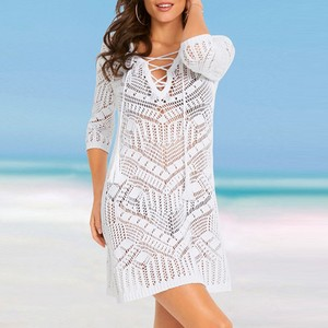 Solid Embroidered Lace Cover Up Pareo Mesh Knitted Crochet Beach Overall Bikini Swimwear Women Kaftan Summer V-neck Loose Dress