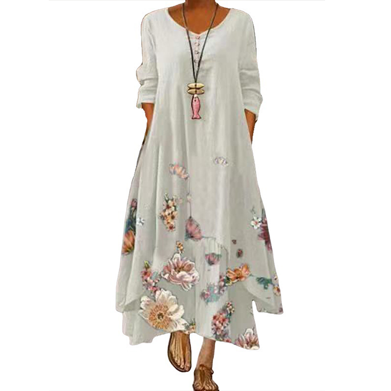 MOVOKAKA 2021 White Long Dress Women Floral Print Vintage Long Sleeve Elegant Dress Plus Size Vestido Women Casual Dresses Party 12