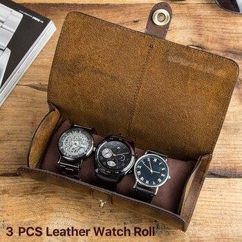 Caja de almacenamiento de reloj con 3 ranuras integradas y elegante caja...