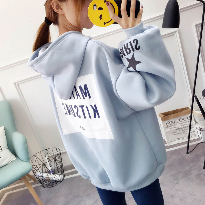 EACHIN Brand Female Hoodies Women Long Sleeve Hooded Sweatshirt Letter Print Tracksuit Sweat Coat Autumn Casual Sportswear
