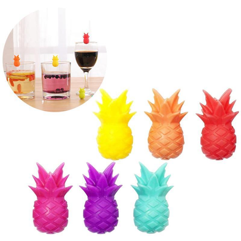 6PCS Silicone Wine Glass Marker pineapple Design Drink Charms Label Mark ½rQE