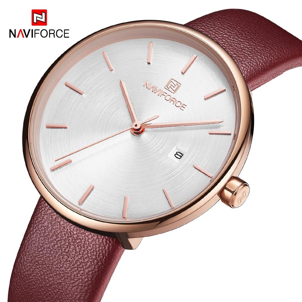 NAVIFORCE Women Watch Fashion Lady Red PU Watchband Quartz Date Casual Watches Waterproof Wristwatch Gift For Girl Wife Woman