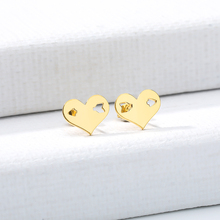 Gold Color Hollow Heart shaped stud Earrings Elegant cute Gold Metal Women Stud Earrings Fashion Jewelry ring shaped stud earrings