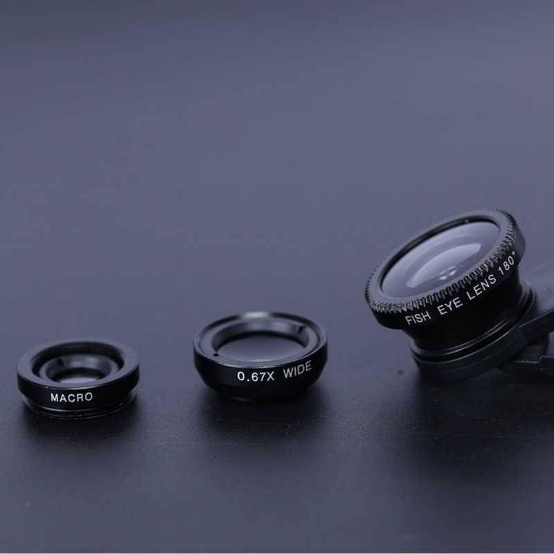 3-In-1 Smartphone Fisheye עדשת 0.67x רחב זווית זום דגי עיני 6x מאקרו עדשות מצלמה ערכות עם קליפ עבור כל טלפונים סלולריים