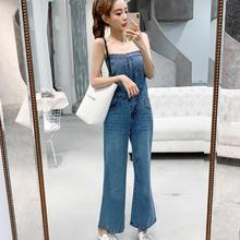 Spring summer sexy strapless sleeveless off shoulder blue denim jumpsuit women h