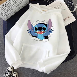 LILO STITCH Hoodie Pullovers Long Sleeves Harajuku Pink Pullovers Lovely Kawaii Casual Tops O-neck Women's Hooded Sweatshirt