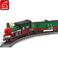 AUSINI Railway Building Blocks Toys for Children Electric Trains Model Figures Bricks Construction City Railroad Boys Kids Game