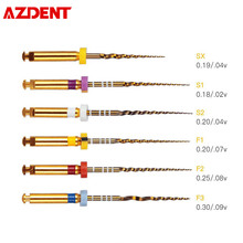 AZDENT Rotary Super Canal Root Golden Files Dental Lab NITI Endodontic Pro Tapers Medical Clinic Dentist Engine Use SX-F3 25mm