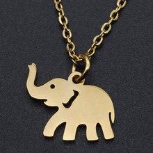 Collier à breloques en forme d'éléphant pour femmes, en acier inoxydable, délicat, commande OEM, livraison directe