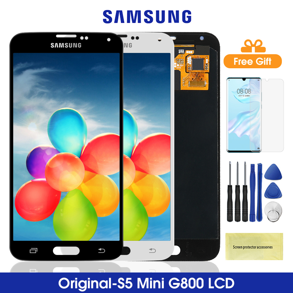 4.5'' Original G800 LCD For <font><b>Samsung</b></font> Galaxy S5 Mini G800 <font><b>Display</b></font> Touch Screen Digitiser Assembly For <font><b>Samsung</b></font> G800 <font><b>G800F</b></font> G800H image