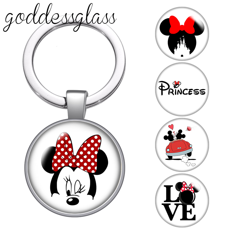 Disney Love Minnie mouse couple Princess Cute glass cabochon keychain Bag Car key chain Ring Holder Charms keychains gift