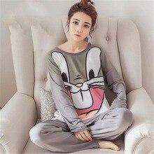 Autumn Winter Women Pajamas Set Sleep Jacket Pant kawaii Lon