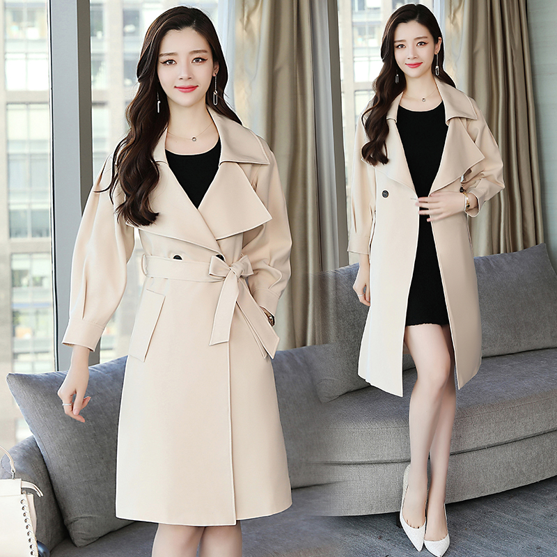 Autumn and Winter Maxi Women Loose Trench Coat Fashion with Belt Blue & Beige Plus Size Korean Elegant Vintage Party