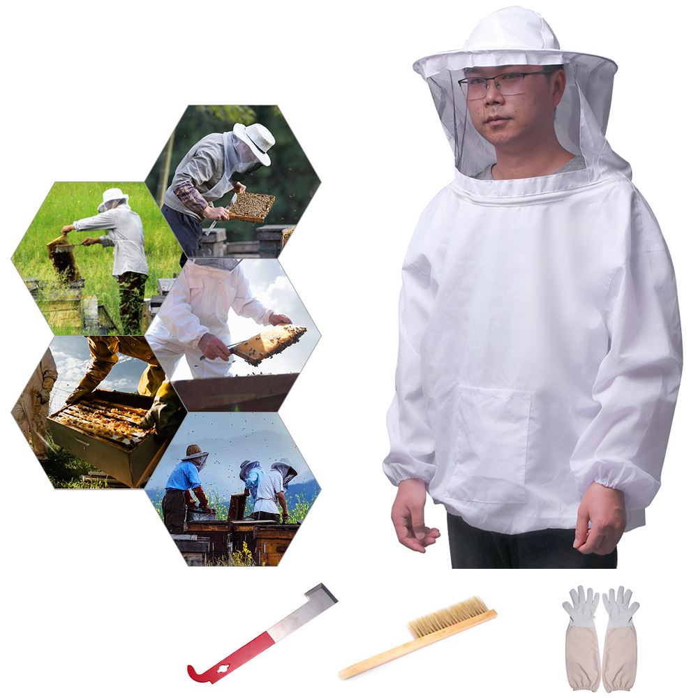 1/4Pcs Beekeeping Suit White Protective Beekeeping Clothing Veil Dress With Hat Equip Suit Beekeeping Jacket Tool Set Dropship|Protective Clothing| |  - title=