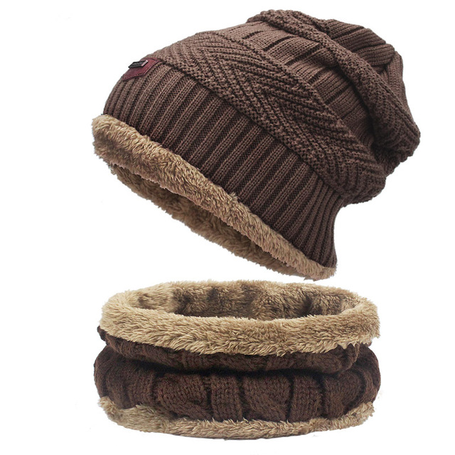 Hot Sell Winter Cashmere Hat Scarf Set Men Solid Color Warm Cap Scarves Male Neutral Outdoor Accessories Hats Scarf 2 Pieces 3
