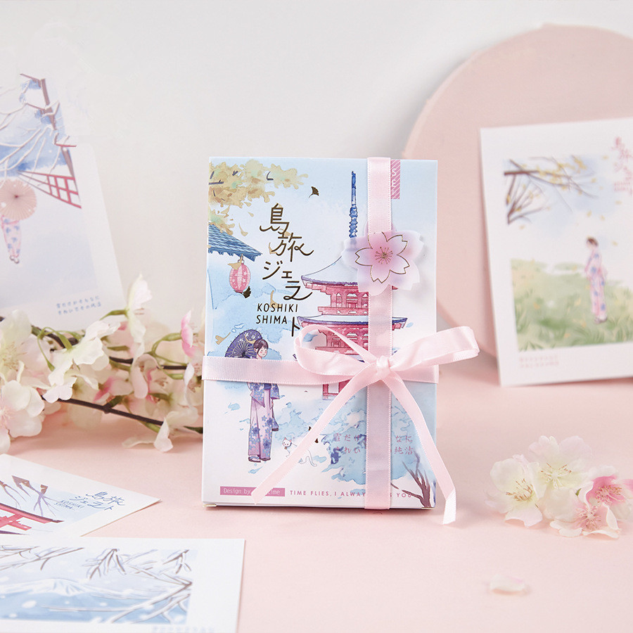 30 Pcs/Set Creative Japanese Illustration Postcard Island Travel Series Greeting Cards Birthday Letter Gift Card