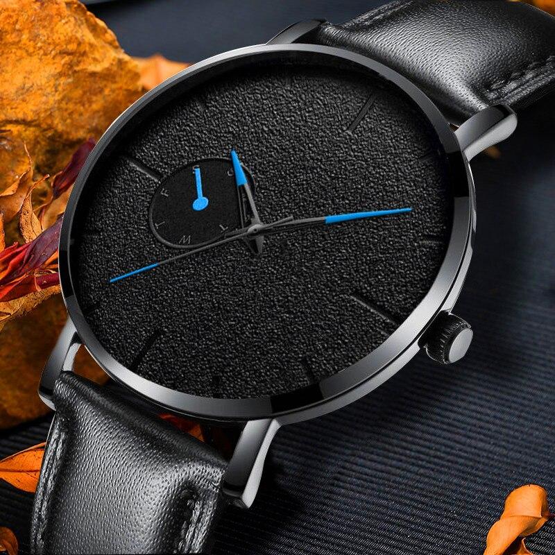 Ultra Thin Men Watches Minimalism Casual Brand Quartz Simple Blue Pointer WristWatch Leather Strap Business Relogio Masculino