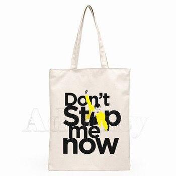 The Queen Band Freddie Mercury Print Reusable Shopping Bag Women Canvas Tote Bags Printing Eco Bag Cartoon Shopper Shoulder Bags 5