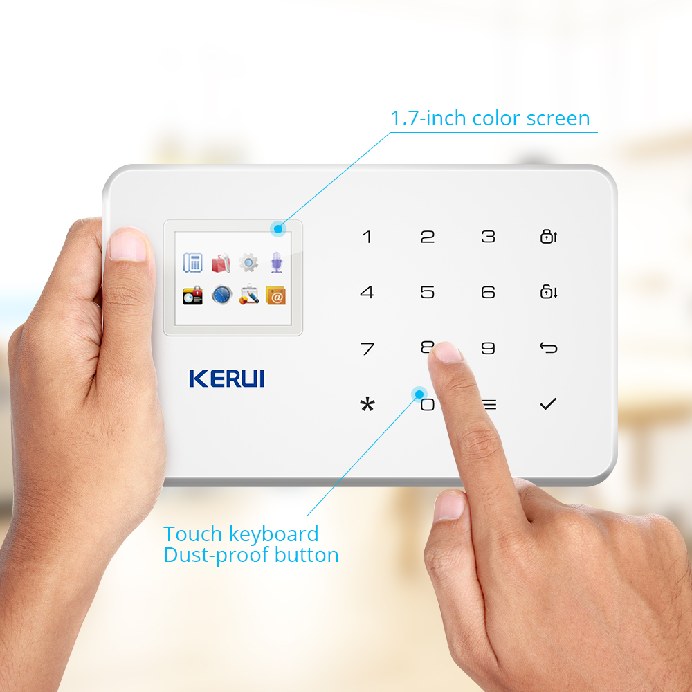 Image 2 - KERUI Wireless Home WIFI GSM Security Alarm System Kit APP Control With Auto Dial Motion Detector Sensor Burglar Alarm System-in Alarm System Kits from Security & Protection