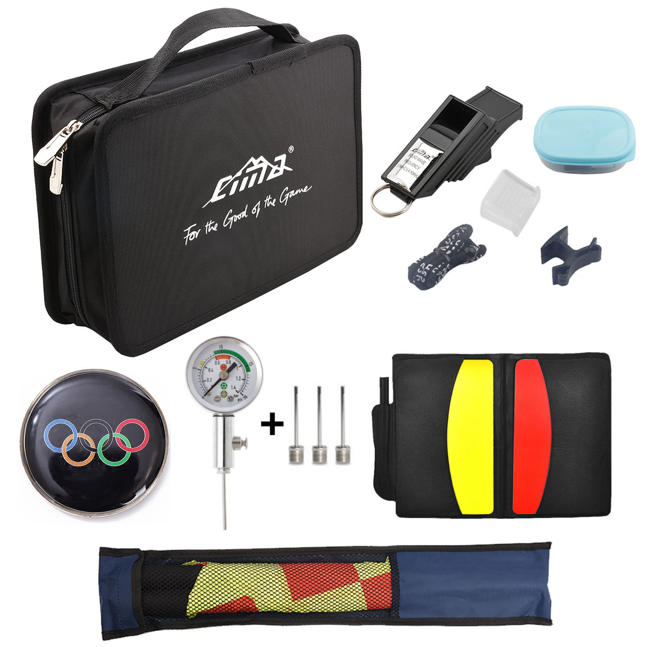 Whistle Olympic Soccer Referee Bag Wallet Coin Cards Linesman Flags Barometer Air Pressure Gauge Kit Football Training Equipment