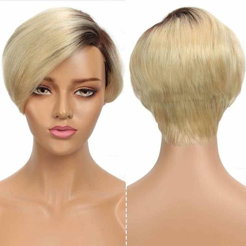 Rebecca krótkie proste włosy koronki część peruka koronki przodu włosów ludzkich peruk dla kobiet peruwiańskie włosy remy Ombre różowy Blond moda peruki