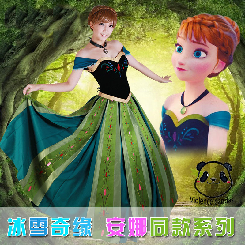 Luxury Adult Princess Anna Costume Women <font><b>Cosplay</b></font> anime <font><b>sexy</b></font> <font><b>Lolita</b></font> Anna Coronation Dress Plus Size Halloween costumes for women image