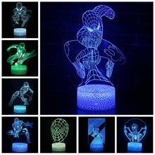 Marvel Avengers Anime Spider Man Figure Acrylic 3D Illusion LED Lamp USB Colourful NightLight Model Toys for Kids Christmas Gift