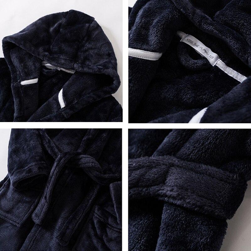 Kids Pajamas Bathrobe for Boys Girls Sleepwear Robe Soft Flannel Hooded Bathgown Winter Warm Nightwear Solid Color Baby Clothes 4