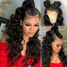 13x6 onda suelta transparente peluca con malla Frontal brasileño pelucas de cabello humano Pre arrancado peluca Frontal de encaje para las mujeres negras Remy Peluca de encaje
