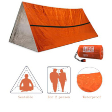 Dropshipping Outdoor Simple Thermal Tent Emergency Survival Tent Relief Insulation Sleep Bag Triangular Aluminum Film Tent