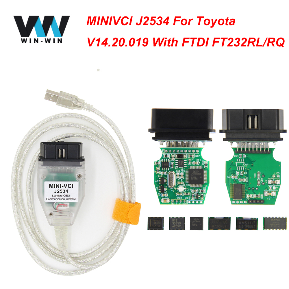 MINI VCI For TOYOTA TIS Techstream V14.20.019 Minivci FTDI For J2534 OBD OBD2 Car Diagnostic Auto Scanner Tool MINI-VCI Cable