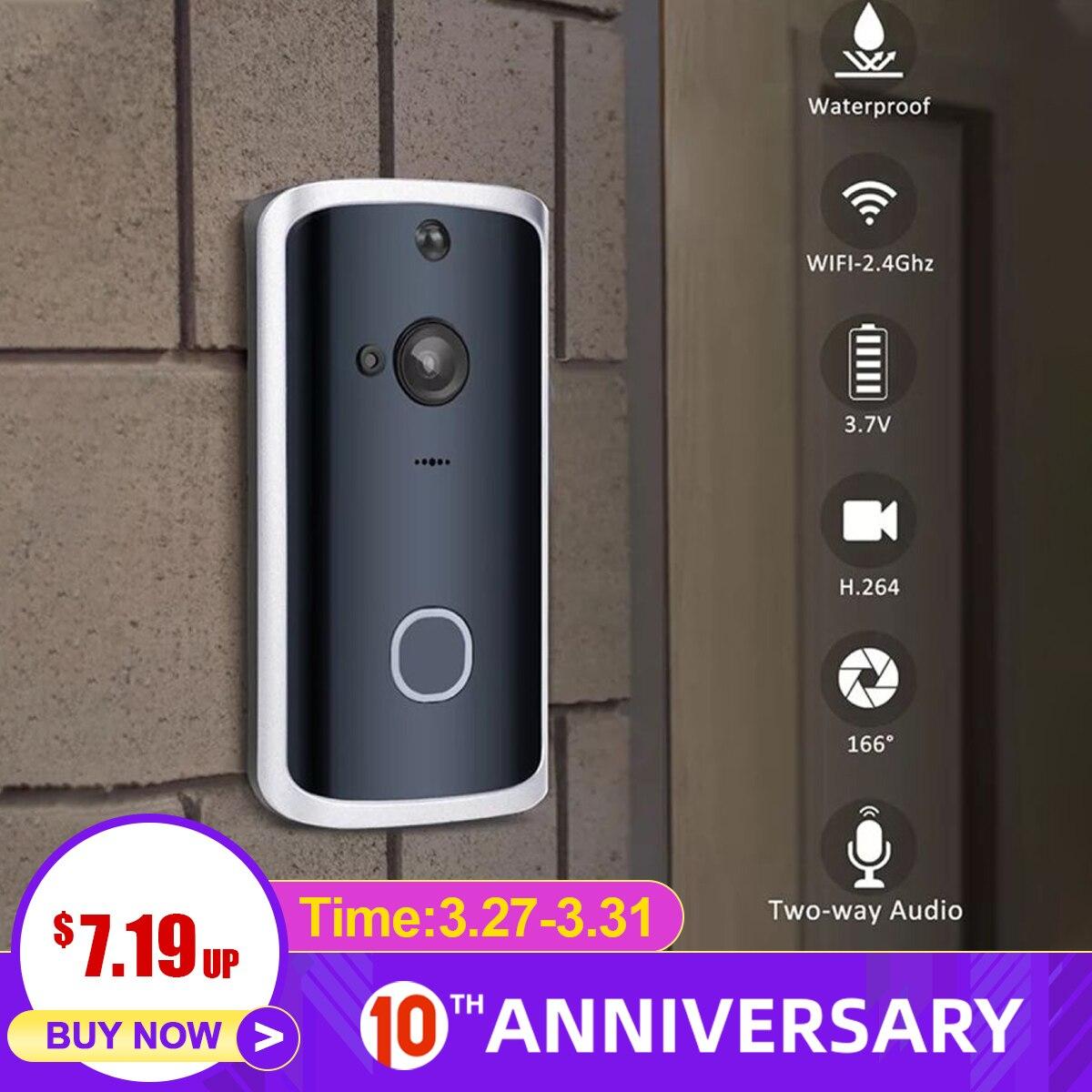 Smart WiFi Video Doorbell Camera 2Way Wireless Doorbell Intercom APP Phone Record Picture Video Home Security Ding-dong Receiver