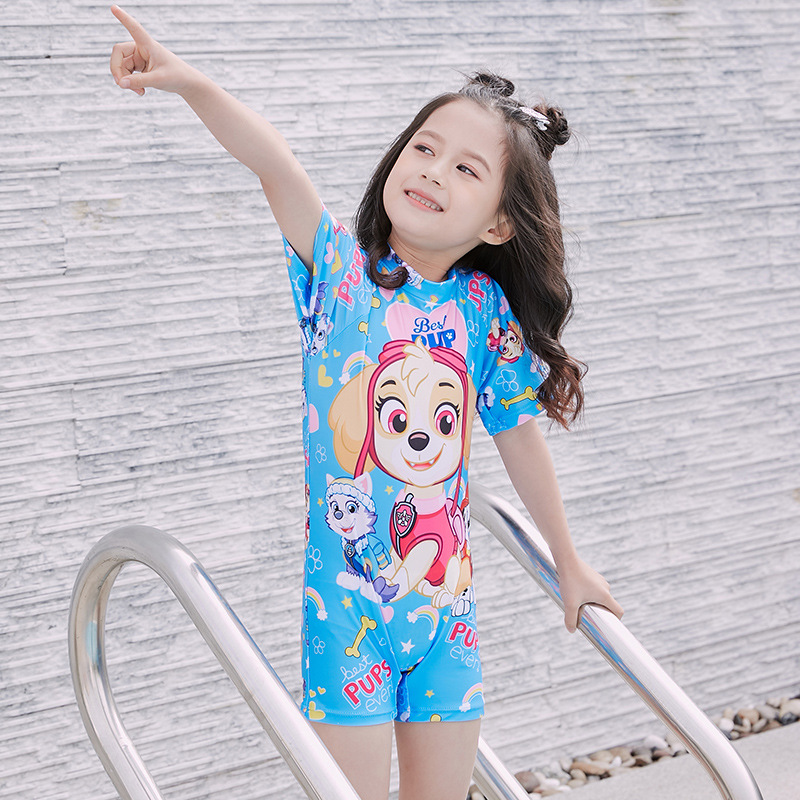 Girls Digital Printing Small CHILDREN'S One-piece Boxer Bathing Suit Beach Sports Set Korean-style Cute Want Team CHILDREN'S Swi