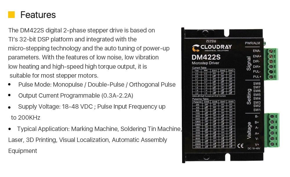 Cloudray 2-phases pilote moteur pas /à pas DM422S alimentation tension 18-48vdc courant de sortie 0.3-2.2A