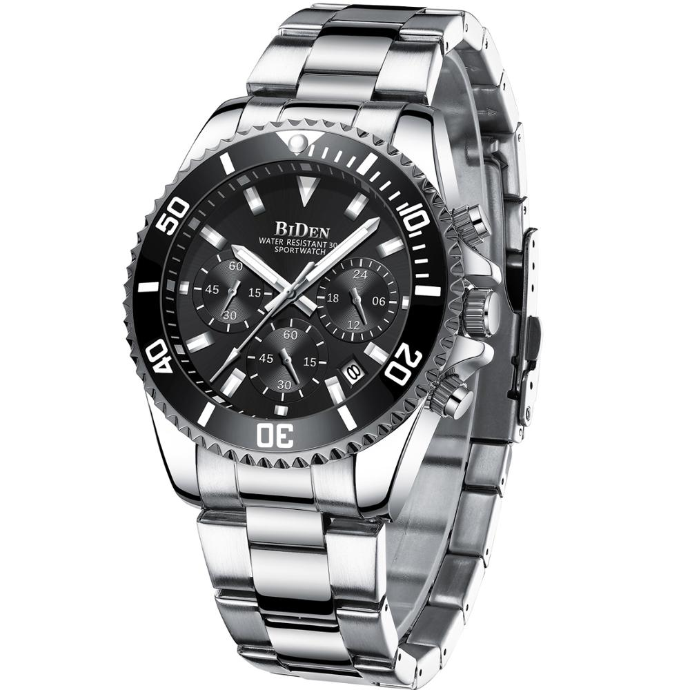 Часы BIDEN Мужские кварцевые, полностью стальные, водонепроницаемые, в стиле милитари, спортивные, 2021