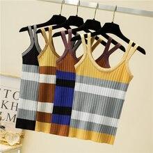 Ljsxls летняя Корейская женская одежда полосатый вязаный Топ