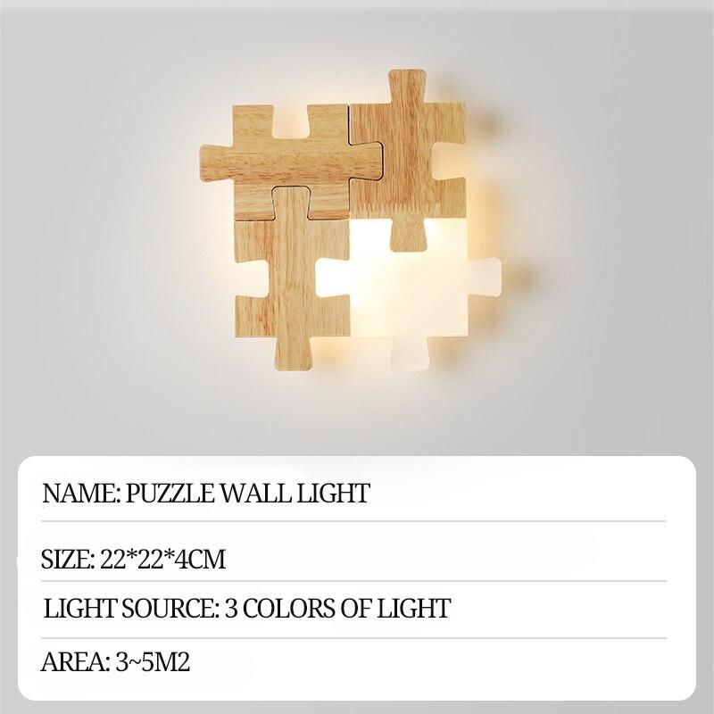 Скандинавские прикроватные проходы светодиодный настенный светильник сочетание головоломки личности творческой твердой древесины спаль... - 6