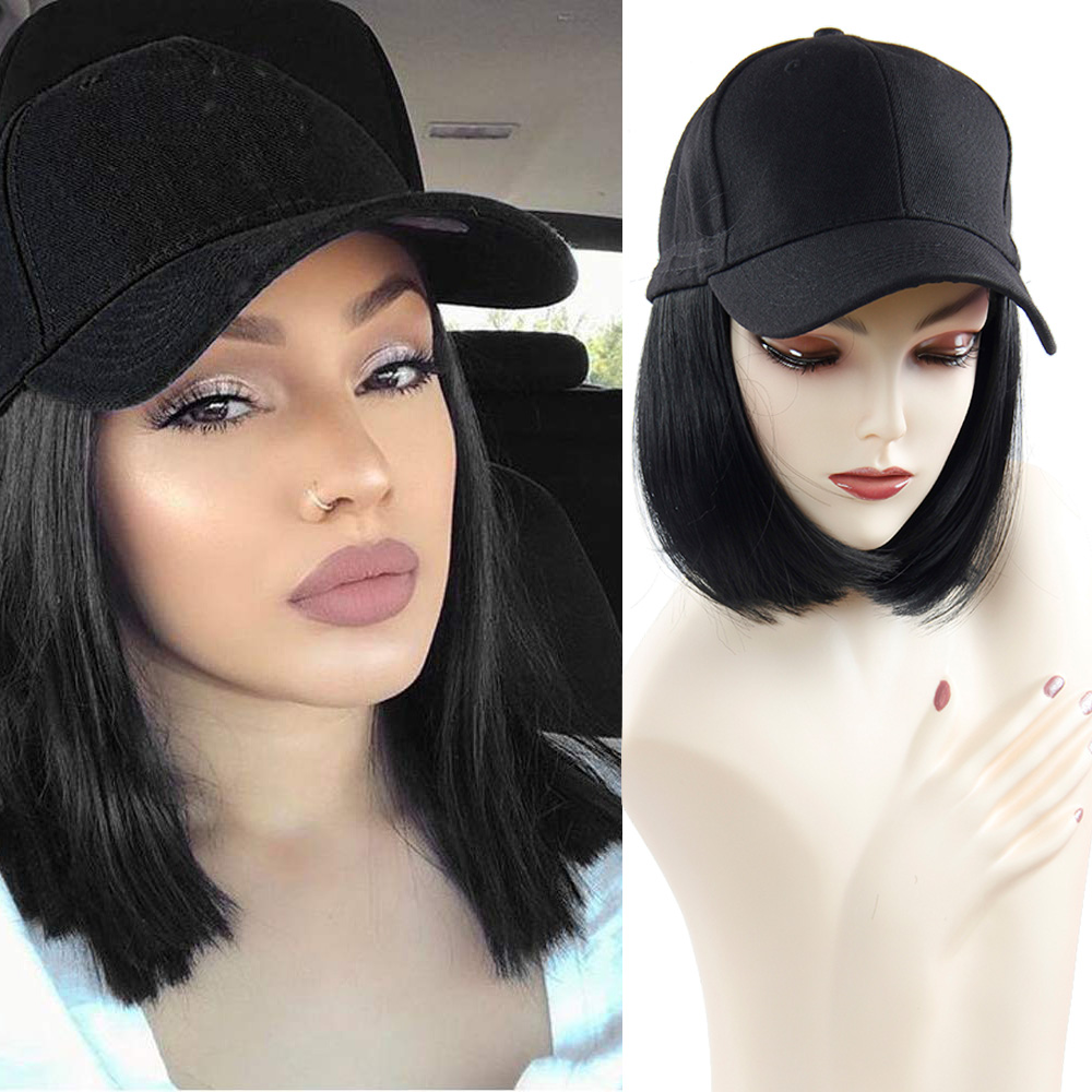 Baseball Cap Short Wigs For Women Heat Resistant Fiber Black Hair Wig With Hat Peruca Synthetic Bob Wig