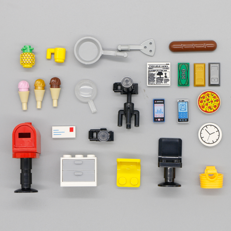 Building Blocks City Accessories House Chair Letter Box Clock Bricks Toys Camera Chair Mobile Phone Friends Food Magnifier House