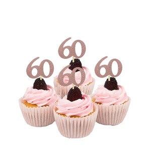 Chicinlife розовое золото 30 40 50 60 лет воздушный шар кекс Топпер солома с днем рождения Юбилей для взрослых Декор принадлежности