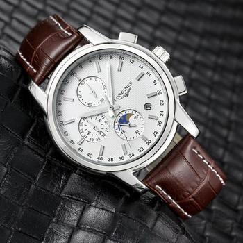 Brand Fashion Classic Quartz Mens Watch 2020 Chronograph Rubber Belt Date Wristwatch Rose Gold Metal Watch Men   1044
