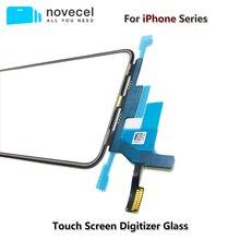 شاشة LCD أصلية عالية الجودة تعمل باللمس لوحة زجاجية خارجية أمامية مع كابل مرن لهواتف iPhone X XS 11 pro Max قطع غيار