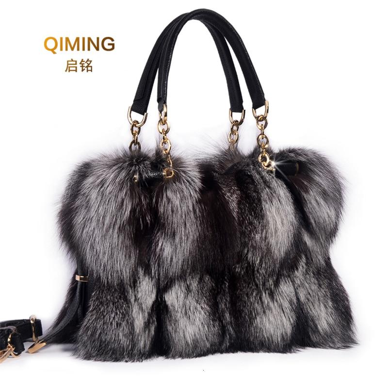 Woman Real Fox Fur Shoulder Bag Totes Handbag Brand Party Bag Women Ladies Hand Bags Luxury Designer Evening Bag Fur Leather