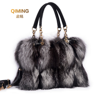 Woman Real Fox Fur Shoulder Bag Totes Handbag Brand Party Bag Women Ladies Hand Bags Luxury Designer Evening Bag Fur Leather