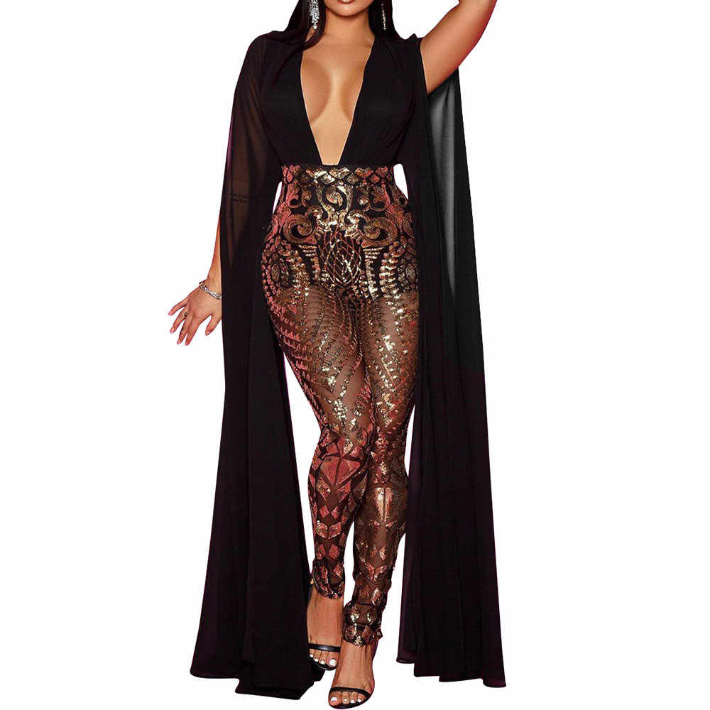 Elegant Celebrity Evening Sequin Jumpsuit Women Deep V-Neck Patchwork Long Sleeve Mesh Sheer Romper Club Sparkly Female Overalls